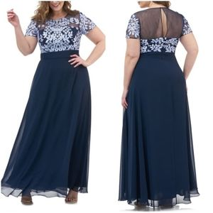 JS Collections Embroidered Navy Gown